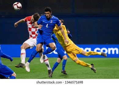 ZAGREB, CROATIA - MARCH 21, 2019: UEFA EURO 2020 Qualifying round, Group E. Croatia VS Azerbaijan. Rahil MAMMADOV (4), Salahat AGAYEV (1) and Bruno PETKOVIC (20)