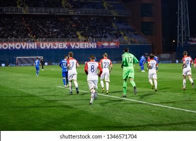 ZAGREB, CROATIA - MARCH 21, 2019: UEFA EURO 2020 Qualifying round, Group E. Croatia VS Azerbaijan.