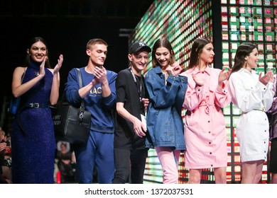 Zagreb, Croatia - March 21, 2019: The fashion designer Anthony Avangard standing on the catwalk with models wearing his collection at the Bipa Fashion.hr fashion show in Zagreb, Croatia.