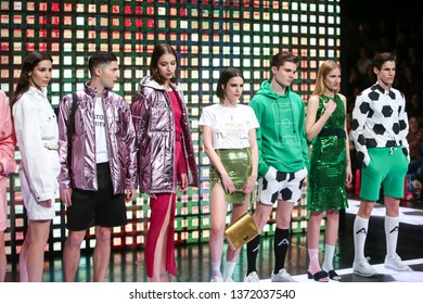 Zagreb, Croatia - March 21, 2019: Models wearing Anthony Avangard fashion collection on the catwalk at the Bipa Fashion.hr fashion show in Zagreb, Croatia.