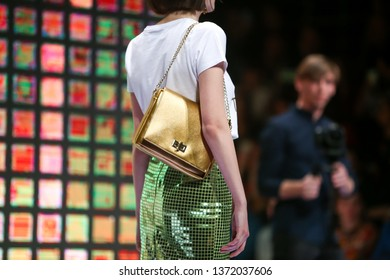 Zagreb, Croatia - March 21, 2019: A model wearing Anthony Avangard fashion collection on the catwalk at the Bipa Fashion.hr fashion show in Zagreb, Croatia.