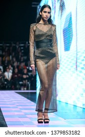Zagreb, Croatia - March 21, 2019 : Fashion model wearing clothes for spring - summer, designed by Mateyaneira on the Bipa Fashion.hr fashion show in Zagreb, Croatia.