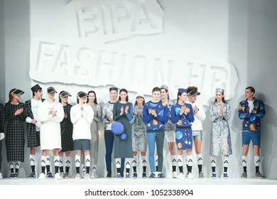 ZAGREB, CROATIA - MARCH 22, 2018 : Fashion models wearing clothes for spring - summer, designed by Anthony Avangard on the Bipa Fashion.hr fashion show in Zagreb, Croatia.