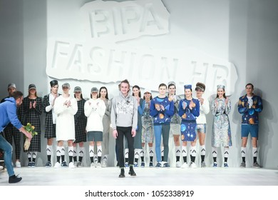 ZAGREB, CROATIA - MARCH 22, 2018 : Fashion designer Anthony Avangard with models wearing clothes for spring - summer on the Bipa Fashion.hr fashion show in Zagreb, Croatia.