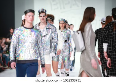 ZAGREB, CROATIA - MARCH 22, 2018 : Fashion model wearing clothes for spring - summer, designed by Anthony Avangard on the Bipa Fashion.hr fashion show in Zagreb, Croatia.