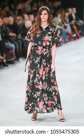 ZAGREB, CROATIA - MARCH 23, 2018 : Fashion model wearing clothes for spring - summer, designed by Robert Sever on the Bipa Fashion.hr fashion show in Zagreb, Croatia.
