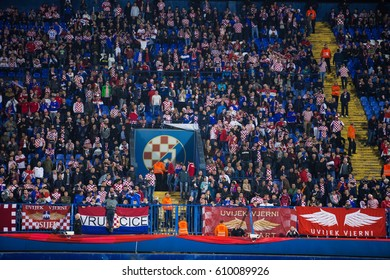 ZAGREB, CROATIA - MARCH 24, 2017: European qualifier for 2018 FIFA World Cup Russia. Round 1, Group 1 - Croatia VS Ukraine. Croatian supporters on eas stand.