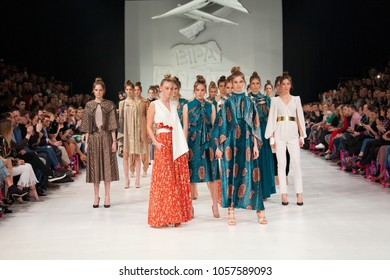 ZAGREB, CROATIA - MARCH 24, 2018: Fashion model wearing clothes designed by Arileo at the 'Fashion.hr' fashion show