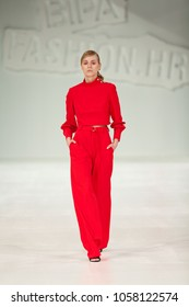 ZAGREB, CROATIA - MARCH 24, 2018: Fashion model wearing clothes designed by Mateyaneira at the 'Fashion.hr' fashion show