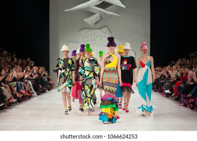 ZAGREB, CROATIA - MARCH 24, 2018: Fashion model wearing clothes designed by Zoran Aragovic - Bite My Style at the 'Fashion.hr' fashion show