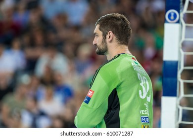 ZAGREB, CROATIA - MARCH 25, 2017: EHF Men's Champions League 2016-17, Final 16. HC Zagreb PPD VS HC Veszprem. Mirko ALILOVIC (32)