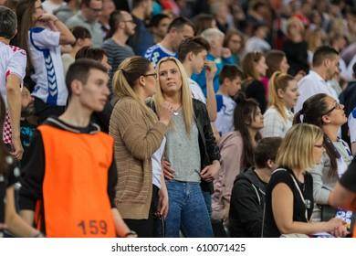 ZAGREB, CROATIA - MARCH 25, 2017: EHF Men's Champions League 2016-17, Final 16. HC Zagreb PPD VS HC Veszprem. Zagreb supporters at stand.