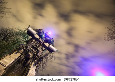 ZAGREB, CROATIA - MARCH 27, 2016 : Exhibition at night by Danilo Baletic named Transformers protecting Zagreb in Zagreb,Croatia. Exhibition is made of automobile parts and waste.