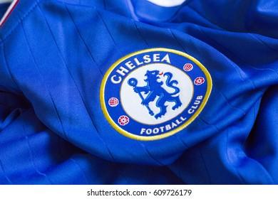 ZAGREB, CROATIA - MARCH 27, 2017. - English football club Chelsea emblem on football jersey.