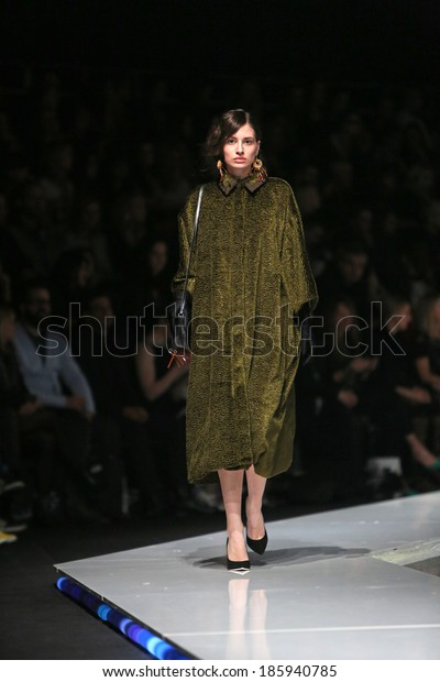 ZAGREB, CROATIA - MARCH 29: Fashion model wearing clothes designed by Robert Sever on the 'Fashion.hr' show on March 29, 2014 in Zagreb, Croatia.