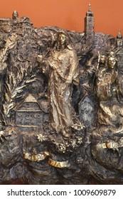ZAGREB, CROATIA - MARCH 31: Saint Dorothea, relief in Chapel of Saint Dismas in Zagreb, Croatia on March 31, 2015
