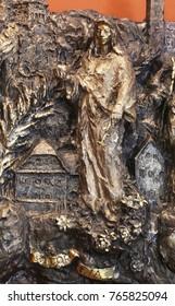 ZAGREB, CROATIA - MARCH 31: Saint Dorothea, bas relief in Chapel of Saint Dismas in Zagreb, Croatia on March 31, 2015