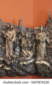 ZAGREB, CROATIA - MARCH 31: Saints Dorothea, Ursula and Catherine of Alexandria, bass relief in Chapel of Saint Dismas in Zagreb, Croatia on March 31, 2015.