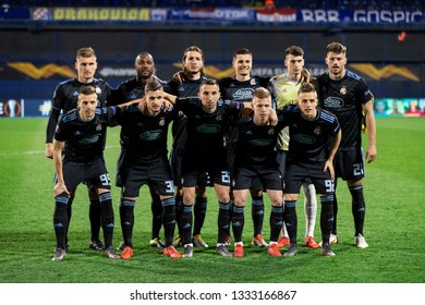 ZAGREB, CROATIA – MARCH 7, 2019: UEFA Europa League 2018/2019, Round of 16, 1st leg. GNK Dinamo Zagreb VS S.L. Benfica. Dinamo players group photo before the match.