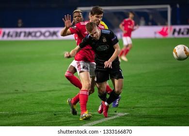 ZAGREB, CROATIA – MARCH 7, 2019: UEFA Europa League 2018/2019, Round of 16, 1st leg. GNK Dinamo Zagreb VS S.L. Benfica. Dani OLMO (7)