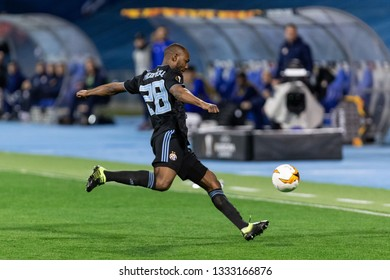 ZAGREB, CROATIA – MARCH 7, 2019: UEFA Europa League 2018/2019, Round of 16, 1st leg. GNK Dinamo Zagreb VS S.L. Benfica. Kevin THEOPHILE-CATHERINE (28)