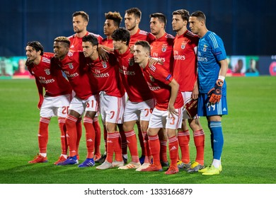 ZAGREB, CROATIA – MARCH 7, 2019: UEFA Europa League 2018/2019, Round of 16, 1st leg. GNK Dinamo Zagreb VS S.L. Benfica. Benfica players group photo before the match.
