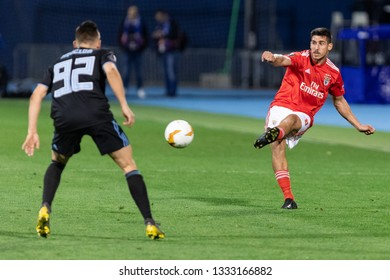 ZAGREB, CROATIA – MARCH 7, 2019: UEFA Europa League 2018/2019, Round of 16, 1st leg. GNK Dinamo Zagreb VS S.L. Benfica. GABRIEL (8) and Damian KADZIOR (92)