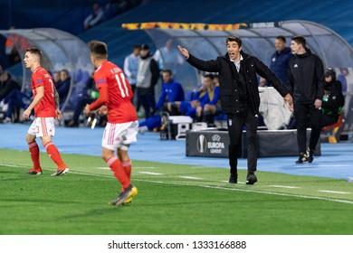 ZAGREB, CROATIA – MARCH 7, 2019: UEFA Europa League 2018/2019, Round of 16, 1st leg. GNK Dinamo Zagreb VS S.L. Benfica. Benfica Head coach Bruno LAGE