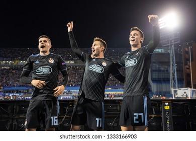 ZAGREB, CROATIA – MARCH 7, 2019: UEFA Europa League 2018/2019, Round of 16, 1st leg. GNK Dinamo Zagreb VS S.L. Benfica. Dinamo players celebrating their victory.