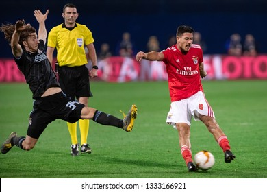 ZAGREB, CROATIA – MARCH 7, 2019: UEFA Europa League 2018/2019, Round of 16, 1st leg. GNK Dinamo Zagreb VS S.L. Benfica. Ivan SUNJIC (34) and GABRIEL (8)