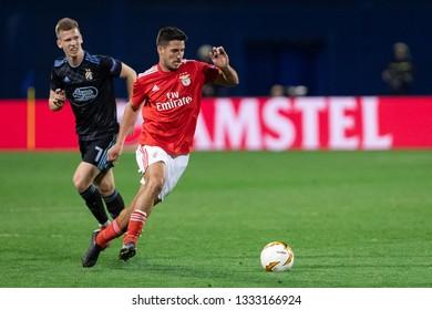 ZAGREB, CROATIA – MARCH 7, 2019: UEFA Europa League 2018/2019, Round of 16, 1st leg. GNK Dinamo Zagreb VS S.L. Benfica. Dani OLMO (7) and GABRIEL (8)