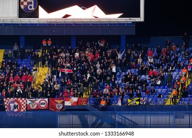 ZAGREB, CROATIA – MARCH 7, 2019: UEFA Europa League 2018/2019, Round of 16, 1st leg. GNK Dinamo Zagreb VS S.L. Benfica. Benfica supporters on south stand