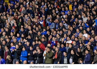 ZAGREB, CROATIA – MARCH 7, 2019: UEFA Europa League 2018/2019, Round of 16, 1st leg. GNK Dinamo Zagreb VS S.L. Benfica. Dinamo supporters on west stand
