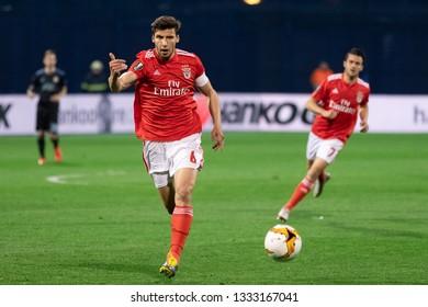 ZAGREB, CROATIA – MARCH 7, 2019: UEFA Europa League 2018/2019, Round of 16, 1st leg. GNK Dinamo Zagreb VS S.L. Benfica. Ruben DIAS (6)