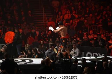 ZAGREB, CROATIA - MARCH 8, 2014: Glory 14, kickboxing event. Albert KRAUS entering ring.