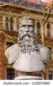 Zagreb, Croatia – Mart 17th 2015: Bust of Krsto I. Frankapan Brinjski or Ozaljski in Zrinjevac park, City of Zagreb - Hrvatska.
