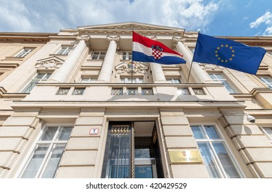 ZAGREB, CROATIA - MAY 07, 2016: Croatian and European flag's blowing in the wind on the Croatian parliament building