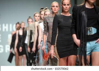 "ZAGREB, CROATIA - May 10: Fashion model wears clothes made by Kristina Burja on ""ZAGREB FASHION WEEK"" show on May 10, 2012 in Zagreb, Croatia."