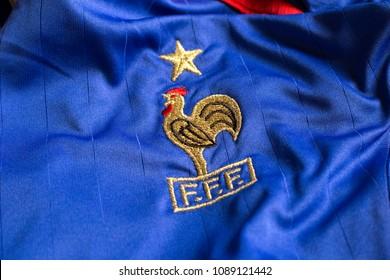 ZAGREB, CROATIA - MAY 12, 2018. - French football federation emblem on jersey.