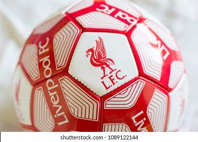 ZAGREB, CROATIA - MAY 12, 2018. - English football club Liverpool FC emblem on ball,