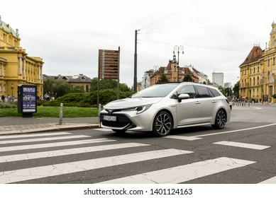 ZAGREB, CROATIA - MAY 12, 2019: New Toyota Corolla, 2019 model in urban environment. Car in motion. Front view of the car.