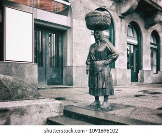 """ZAGREB, CROATIA - May 15th 2018. """"Kumica"""" statue at Dolac market. Zagreb decided to pay tribute to hard working farm women, locally called """"Kumica"""". Renovated"""