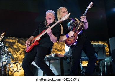 ZAGREB, CROATIA - MAY 16, 2017: Deep Purple performing during their The Long Goodbye tour at Arena Zagreb. Roger Glover and Steve Morse playing guitars.