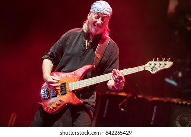 ZAGREB, CROATIA - MAY 16, 2017: Deep Purple performing during their The Long Goodbye tour at Arena Zagreb. Roger Glover playing bass guitar.