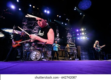 ZAGREB, CROATIA - MAY 16, 2017: Deep Purple on stage during their The Long Goodbye tour at Arena Zagreb.
