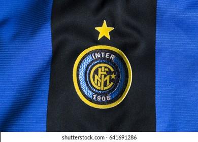 ZAGREB, CROATIA - MAY 17, 2017. - Italian football club F.C. Internazionale Milano emblem on football jersey.