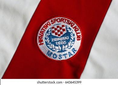 ZAGREB, CROATIA - MAY 20, 2017. - Zrinjski Mostar, football club from Bosnia and Herzegovina, emblem on football jersey.