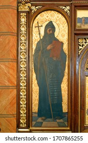 ZAGREB, CROATIA - MAY 22, 2013: Saint Cyril, detail of Iconostasis in Greek Catholic Co-cathedral of Saints Cyril and Methodius in Zagreb, Croatia