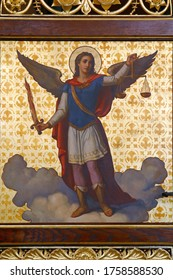 ZAGREB, CROATIA - MAY 22, 2013: Archangel Michael, detail of Iconostasis in Greek Catholic Co-cathedral of Saints Cyril and Methodius in Zagreb, Croatia