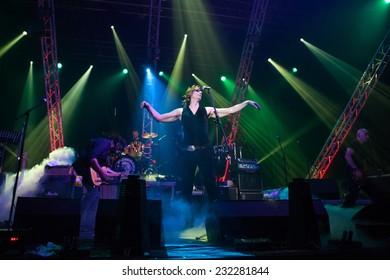 ZAGREB, CROATIA - MAY 23, 2013: Psihomodo Pop's 30th birthday concert  in Dom sportova.